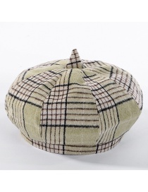 Fashion Avocado Green Colorblock Plaid Beret