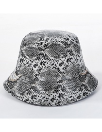 Fashion Gray Snakeskin Leather Cap