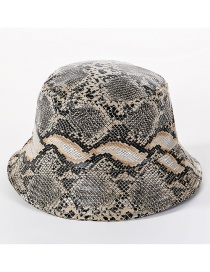Fashion Khaki Snakeskin Leather Cap