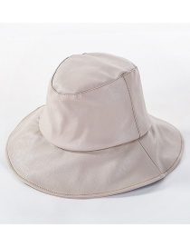 Fashion Beige Light Board Leather U Fisherman Hat