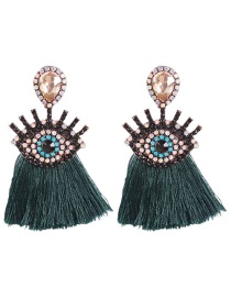 Fashion Dark Green Alloy Rhinestone Eye Tassel Earrings