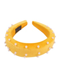 Fashion Yellow Corduroy Pearl Headband