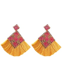 Fashion Yellow Mizhu Tassel Stud Earrings