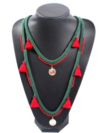 Fashion Green Alloy Rice Beads Tassel Necklace