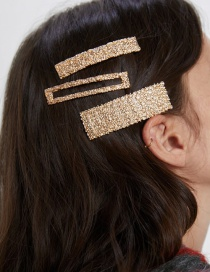 Fashion Gold Alloy Square Hair Clip 3 Piece Set