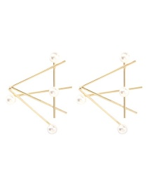 Fashion Gold Alloy Pearl Triangle Earrings