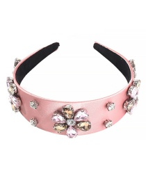 Fashion Pink Alloy Rhinestone Flower Headband