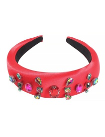 Fashion Big Red Satin Cloth Rhinestone Headband