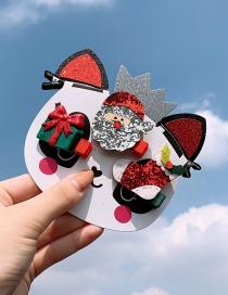 Fashion Silver Sequin Santa Claus Series 5 Piece Set Christmas Antler Hairpin