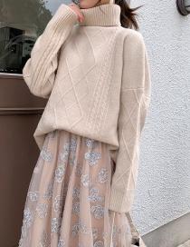 Fashion White High Neck Sweater