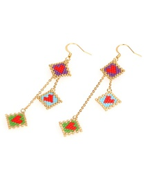 Fashion Color Multi-layer Rice Beads Love Earrings