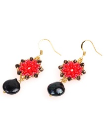 Fashion Red Pearl Rice Earrings