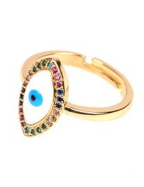 Fashion Gold Eye Micro-set Diamond Drop Opening Ring