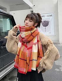 Fashion Red Plaid Short-strap Cashmere Shawl Scarf