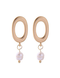 Fashion Gold Geometric Oval Pearl S925 Silver Needle Stud Earrings