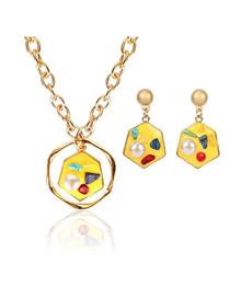 Fashion Yellow Irregular Diamond Earrings Necklace Set