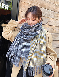 Fashion Yellow-green Houndstooth Fringed Houndstooth Scarf Shawl