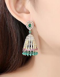Fashion 18k Openwork Copper Inlaid Zircon Tassel Earrings