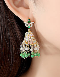 Fashion Green Fringed Copper And Zirconium Earrings