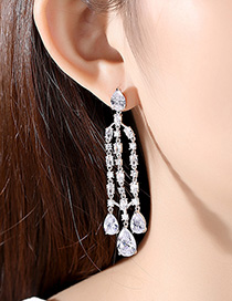 Fashion Platinum Fringed Copper And Zirconium Earrings