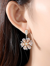 Fashion Tricolor Gold Copper Inlay Zircon Earrings