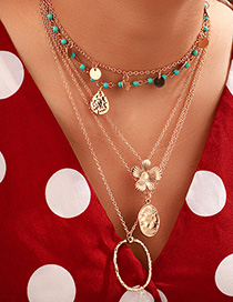 Fashion Gold Round Oval Flower Turquoise Multi-layer Necklace
