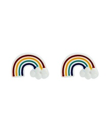 Fashion Color S925 Silver Rainbow Paint Earrings