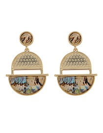 Fashion Gold S925 Silver Needle Metal Shell Resin Earrings