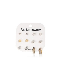 Fashion Gold Frosted Shambhala Rhinestone Earrings Set Of 6