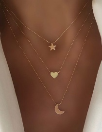 Fashion Gold Star Moon Love Necklace