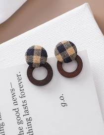 Fashion Blue Checkered Wooden Earrings