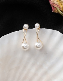 Fashion Gold 925 Silver Pin Size Pearl Line Staggered Earrings