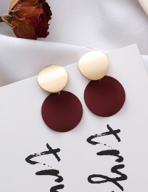 Fashion Wine Red 925 Silver Needle Round Disc Earrings