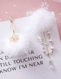 Fashion Gold 925 Silver Needle Pearl Snowflake Ball Asymmetric Earrings