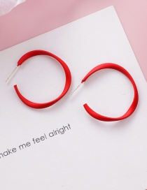 Fashion Red 925 Silver Needle Spray Twisted Circle Earrings