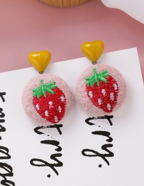 Fashion Strawberry Embroidered Plush Love Round Fabric Hair Ball Fruit Earrings