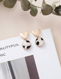 Fashion White Love Round Leopard Earrings