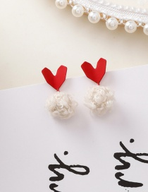 Fashion Red Heart Of The Clouds Plush Ball Stud Earrings