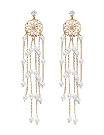 Fashion Gold 925 Silver Needle Dreamcatcher Tassel Earrings