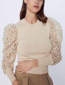 Fashion Color Stitched Crepe Sleeve Sweater