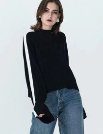 Fashion Black Color Matching Small High Leader Closing Sweater