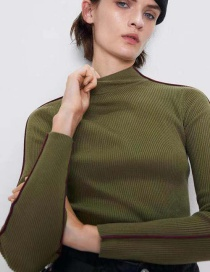 Fashion Green Stand Collar Stitching Trim Sweater