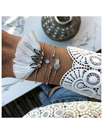 Fashion Silver Alloy Shell Pineapple Tassel Bracelet Set