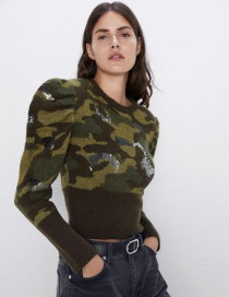 Fashion Camouflage Sequin Embroidery Camouflage Sweater