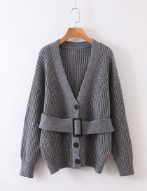 Fashion Gray Sweater Cardigan