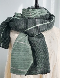 Fashion Pleated Lattice Dark Green Colorblocked Pleated Two-sided Plaid Imitation Cashmere Scarf