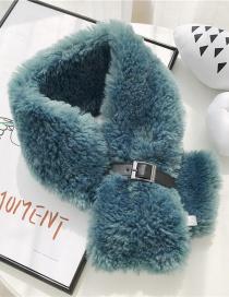 Fashion Imitation Lamb Fur Buckle Lake Blue Leather Buckle Plush Ribbon Scarf