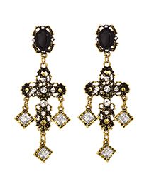 Fashion Gold Alloy Diamond-studded Earrings