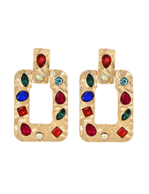 Fashion Gold Alloy Studded Square Earrings