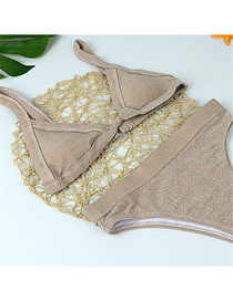 Fashion High-grade Gold And Silver Fabric Khaki Chest Pad Gathers Split Swimsuit